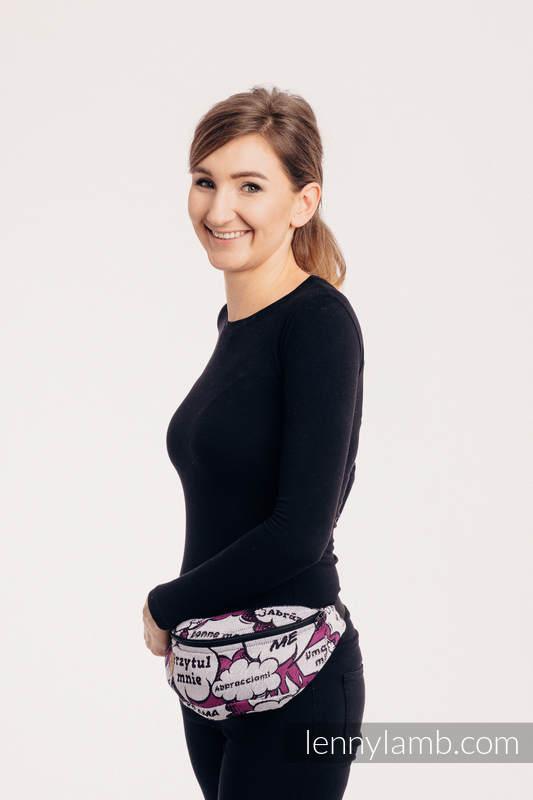 Waist Bag made of woven fabric, (100% cotton) - HUG ME - PINK  #babywearing