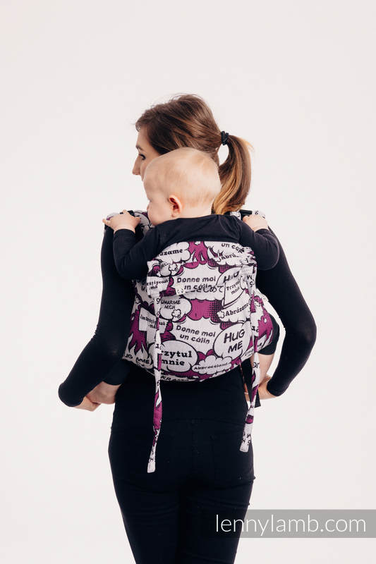 Lenny Buckle Onbuhimo, standard size, jacquard weave (100% cotton) - Wrap conversion from HUG ME - PINK  #babywearing