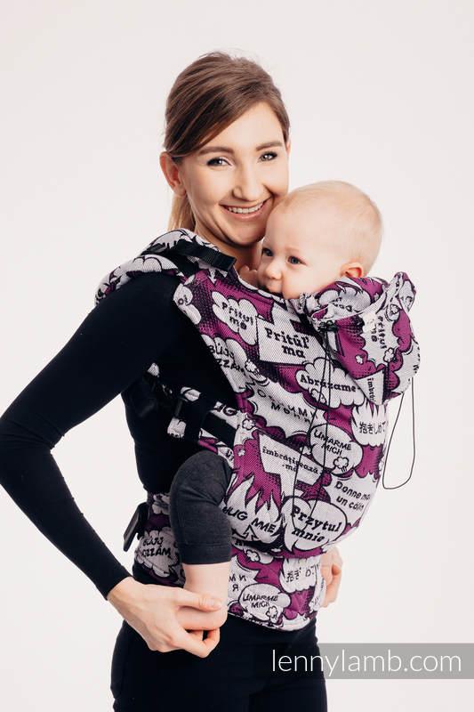 Nosidełko Ergonomiczne z tkaniny żakardowej (100% bawełna), Baby Size - PRZYTUL MNIE - RÓŻOWY - Druga Generacja #babywearing