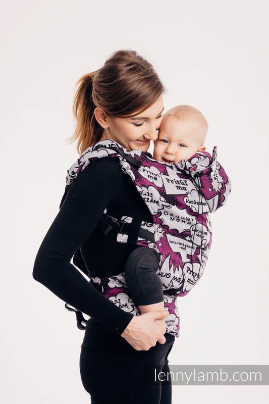Nosidełko Ergonomiczne z tkaniny żakardowej (100% bawełna), Toddler Size - PRZYTUL MNIE - RÓŻOWY - Druga Generacja #babywearing
