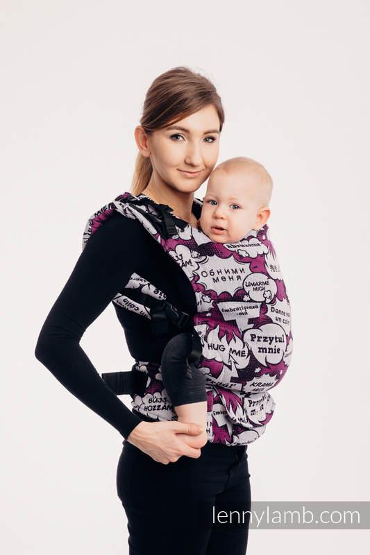 LennyUp Carrier, Standard Size, jacquard weave 100% cotton - HUG ME - PINK  #babywearing
