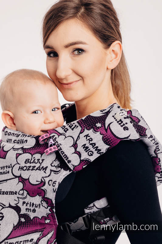 LennyUp Carrier, Standard Size, jacquard weave 100% cotton - wrap conversion from HUG ME - PINK  #babywearing