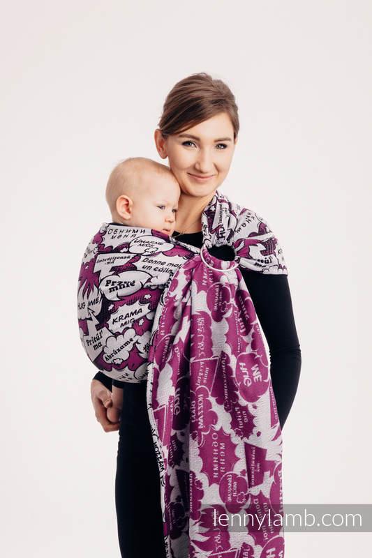 Ringsling, Jacquard Weave (100% cotton) - HUG ME - PINK - standard 1.8m #babywearing