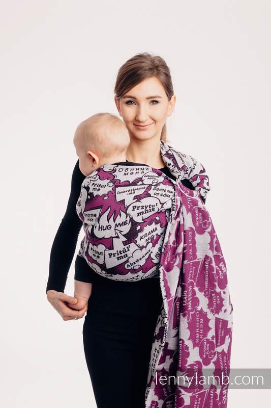 Ringsling, Jacquard Weave (100% cotton), with gathered shoulder - HUG ME PINK - standard 1.8m #babywearing