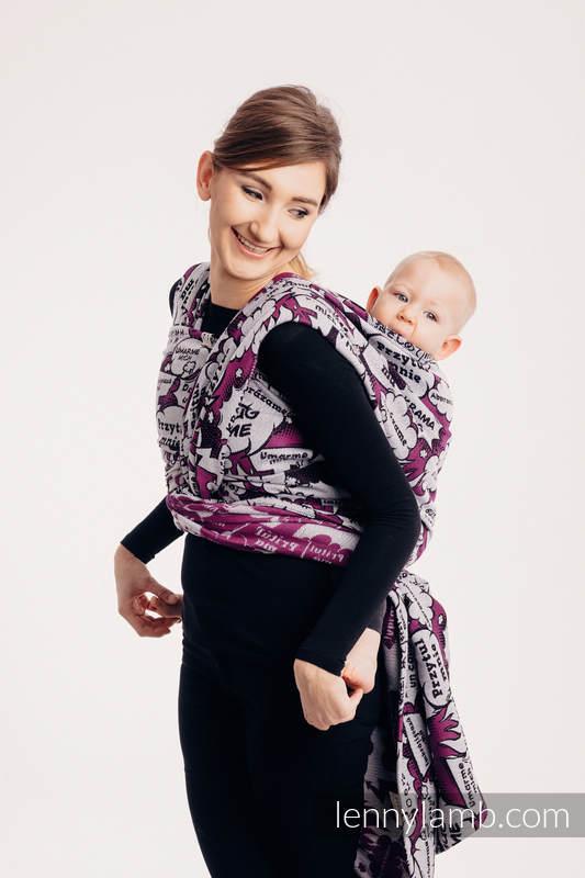 Żakardowa chusta do noszenia dzieci, 100% bawełna - PRZYTUL MNIE - RÓŻOWY - rozmiar S #babywearing
