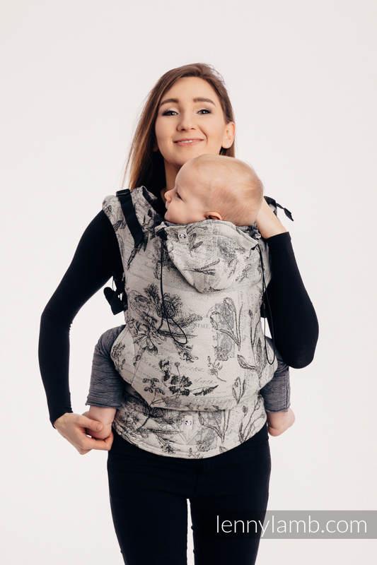 Nosidełko Ergonomiczne z tkaniny żakardowej (100% bawełna), Baby Size, HERBARIUM Z OGRODU ROUNDHAY - Druga Generacja #babywearing