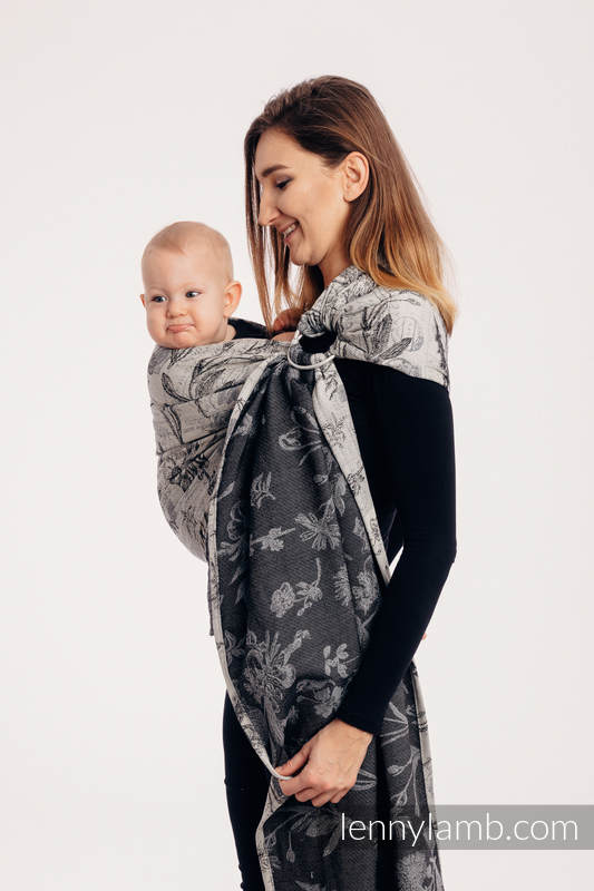 Ringsling, Jacquard Weave (100% cotton) - with gathered shoulder - HERBARIUM ROUNDHAY GARDEN - long 2.1m #babywearing