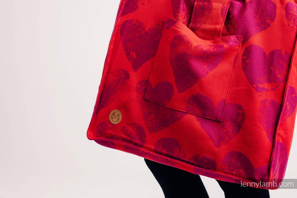 Schultertasche, hergestellt vom gewebten Stoff (100% Baumwolle) - LOVKA MY VALENTINE - Standard Größe 37cmx37cm #babywearing