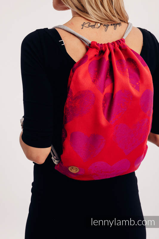 Sackpack made of wrap fabric (100% cotton) - LOVKA MY VALENTINE - standard size 32cmx43cm #babywearing