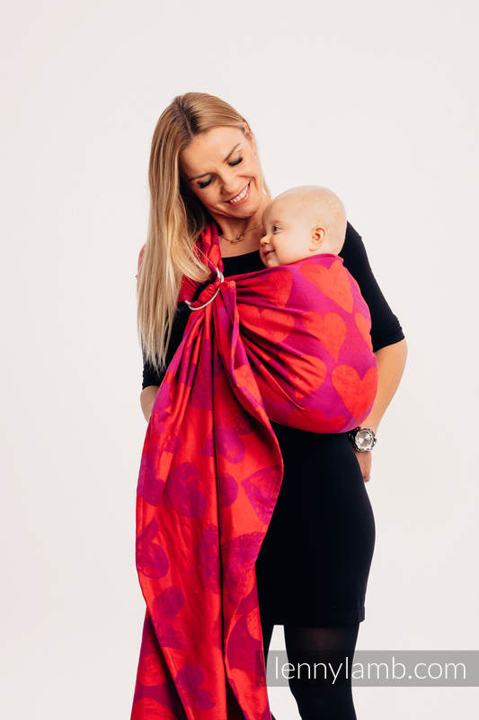 Ringsling, Jacquard Weave (100% cotton) - with gathered shoulder - LOVKA MY VALENTINE - long 2.1m (grade B) #babywearing