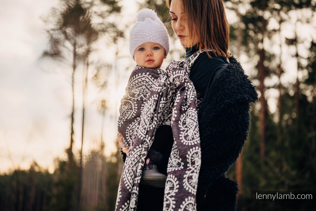 Tragetuch, Jacquardwebung (74% Baumwolle, 26% Seide) - FOLK HEARTS - NOSTALGIA - Größe S #babywearing