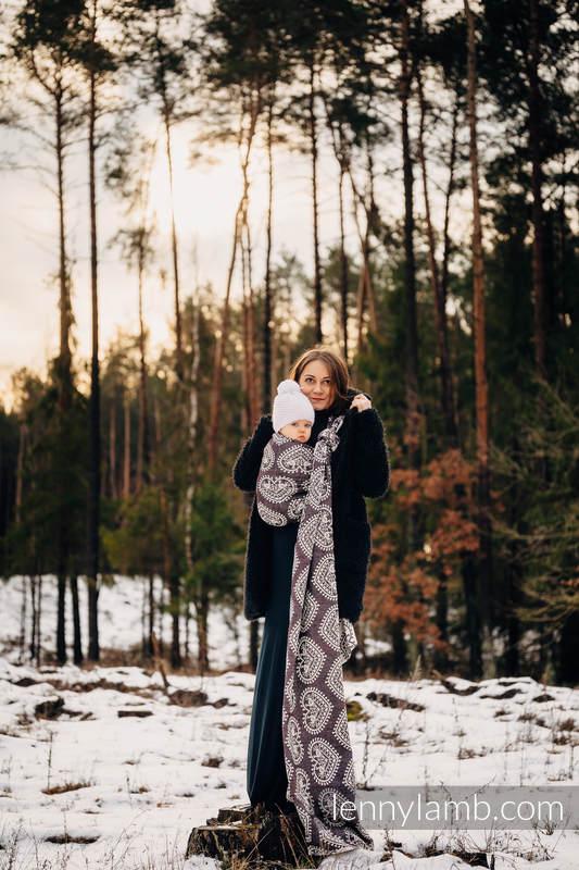 Tragetuch, Jacquardwebung (74% Baumwolle, 26% Seide) - FOLK HEARTS - NOSTALGIA - Größe L #babywearing
