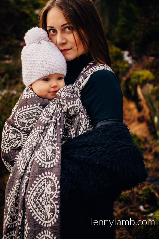 Tragetuch, Jacquardwebung (74% Baumwolle, 26% Seide) - FOLK HEARTS - NOSTALGIA - Größe XL #babywearing