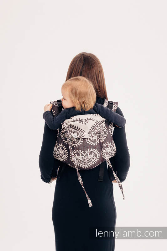 Lenny Buckle Onbuhimo baby carrier, standard size, jacquard weave (74% cotton 26% silk) - FOLK HEARTS - NOSTALGIA #babywearing