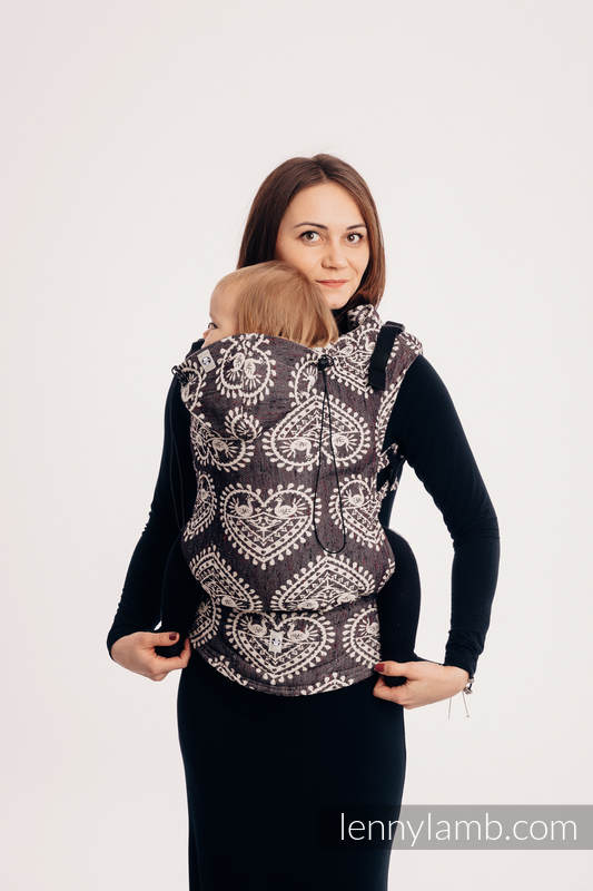 Ergonomic Carrier, Baby Size, jacquard weave 74% cotton 26% silk - FOLK HEARTS - NOSTALGIA, Second Generation #babywearing