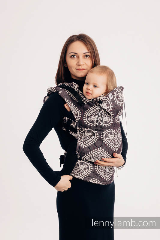 Ergonomic Carrier, Baby Size, jacquard weave 74% cotton 26% silk - wrap conversion from FOLK HEARTS - NOSTALGIA, Second Generation #babywearing