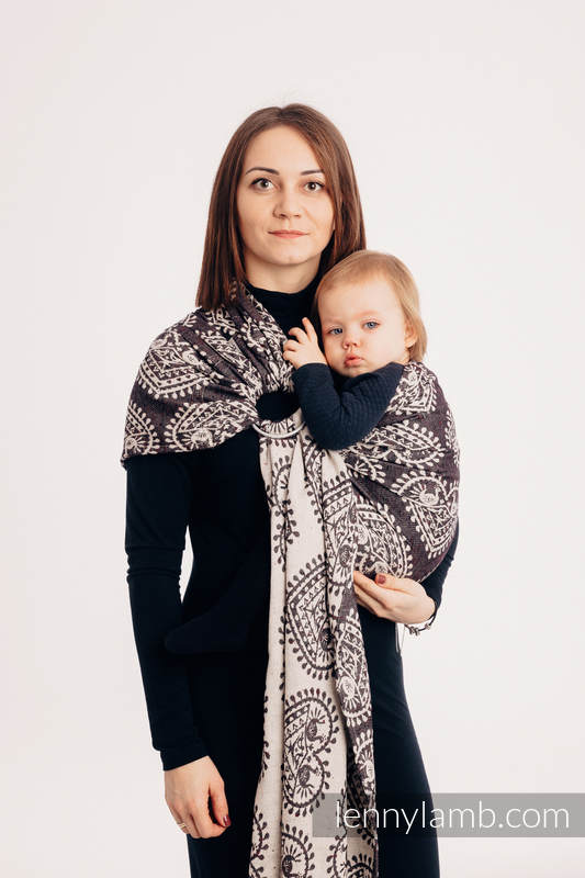 Ringsling, Jacquard Weave, with gathered shoulder (74% cotton 26% silk) -FOLK HEARTS - NOSTALGIA #babywearing