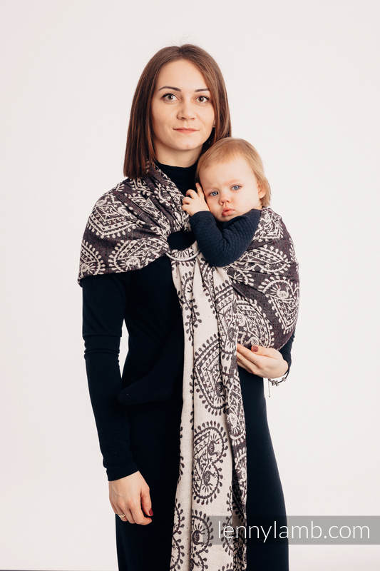 Ringsling, Jacquard Weave, with gathered shoulder (74% cotton 26% silk) - FOLK HEARTS - NOSTALGIA - long 2.1m #babywearing