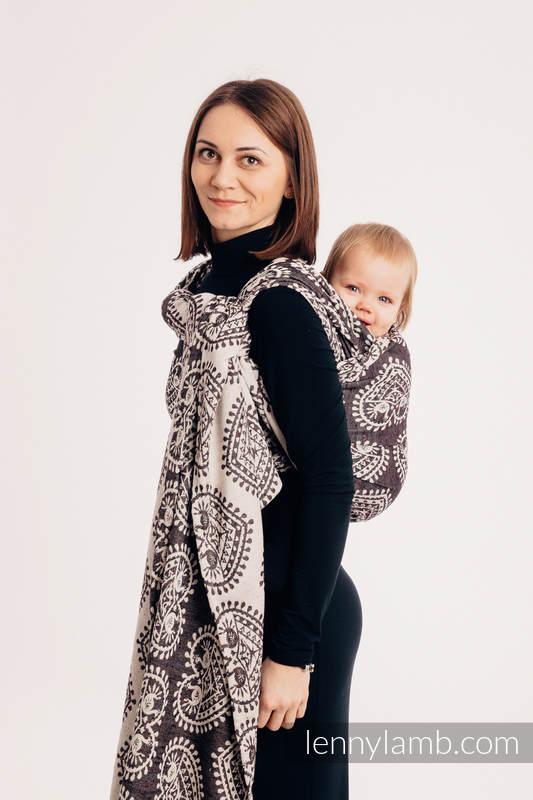 Baby Wrap, Jacquard Weave (74% cotton 26% silk) - FOLK HEARTS - NOSTALGIA - size XS #babywearing