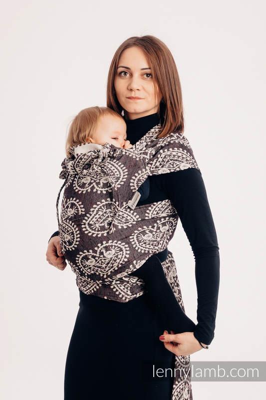 WRAP-TAI carrier Mini with hood/ jacquard twill / 74% cotton 26% silk / FOLK HEARTS - NOSTALGIA #babywearing