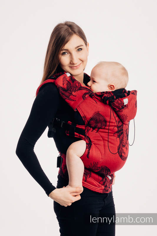 Ergonomic Carrier, Baby Size, jacquard weave 100% cotton - DRAGON - FIRE AND BLOOD - Second Generation #babywearing