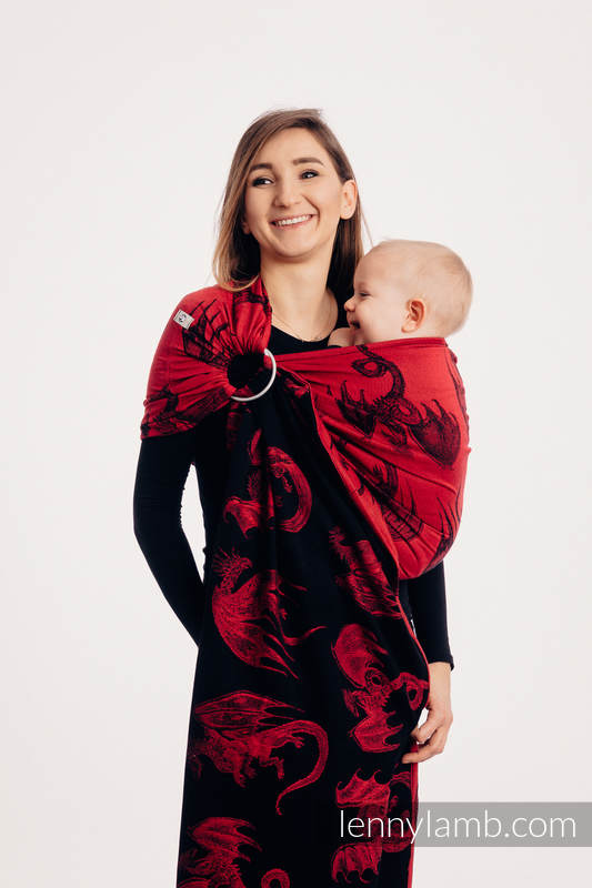 Ringsling, Jacquard Weave (100% cotton), with gathered shoulder - DRAGON FIRE AND BLOOD - standard 1.8m #babywearing