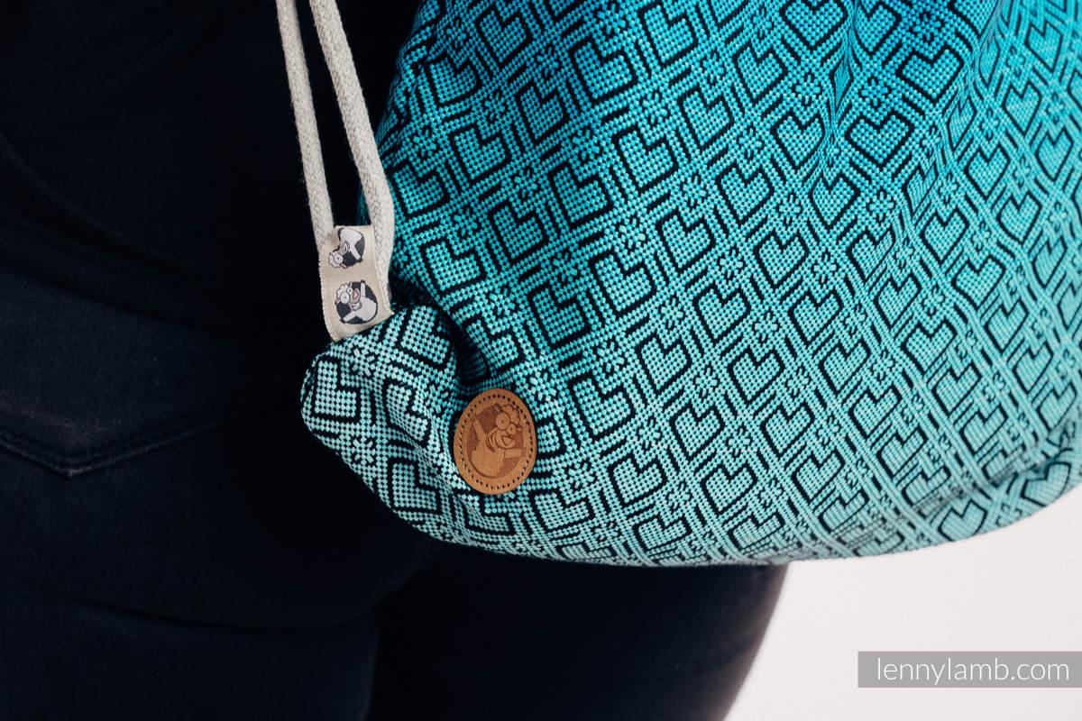 Mochila portaobjetos hecha de tejido de fular (100% algodón) - BIG LOVE ATMOSPHERE - talla estándar 32cmx43cm #babywearing