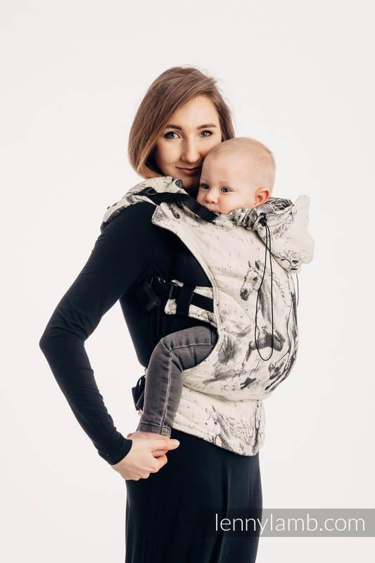 Nosidełko Ergonomiczne z tkaniny żakardowej 63% bawełna, 37% wełna merino, Baby Size, GALOP - DŹWIĘK CISZY, Druga Generacja #babywearing