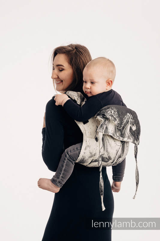 Lenny Buckle Onbuhimo baby carrier, standard size, jacquard weave (63% cotton, 37% Merino wool) - GALLOP - THE SOUND OF SILENCE #babywearing