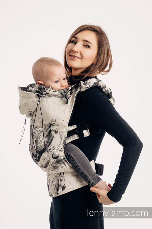 Ergonomic Carrier, Toddler Size, jacquard weave 63% cotton, 37% Merino wool - GALLOP - THE SOUND OF SILENCE, Second Generation #babywearing
