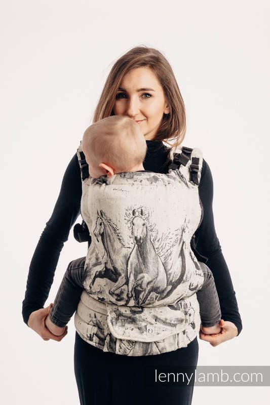 Nosidełko LennyUp z tkaniny żakardowej,63% bawełna, 37% wełna merino , rozmiar standard - GALOP - DŹWIĘK CISZY #babywearing