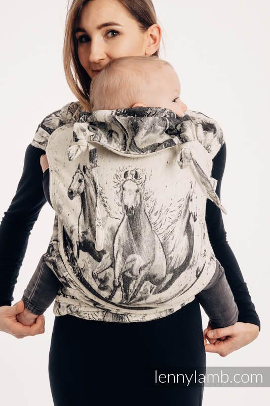 WRAP-TAI carrier Mini with hood/ jacquard twill / 63% cotton, 37% Merino wool - GALLOP - THE SOUND OF SILENCE #babywearing
