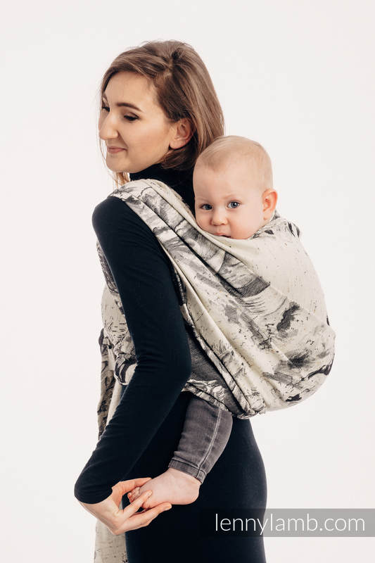 Baby Wrap, Jacquard Weave (63% cotton, 37% Merino wool) - GALLOP - THE SOUND OF SILENCE - size XS #babywearing