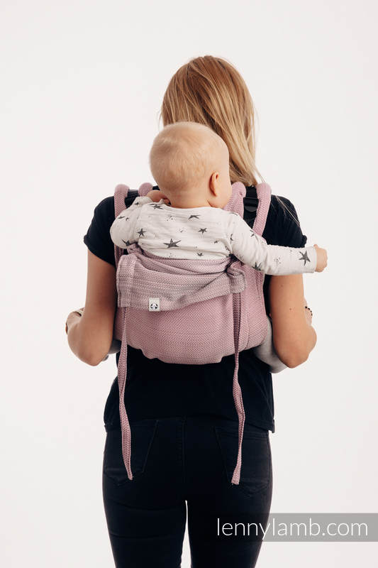 Lenny Buckle Onbuhimo baby carrier, toddler size, herringbone weave (100% cotton) - LITTLE HERRINGBONE OMBRE PINK #babywearing
