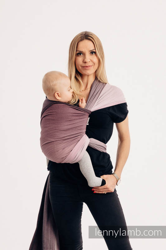 Baby Wrap, Herringbone Weave (100% cotton) - LITTLE HERRINGBONE OMBRE PINK - size XL #babywearing