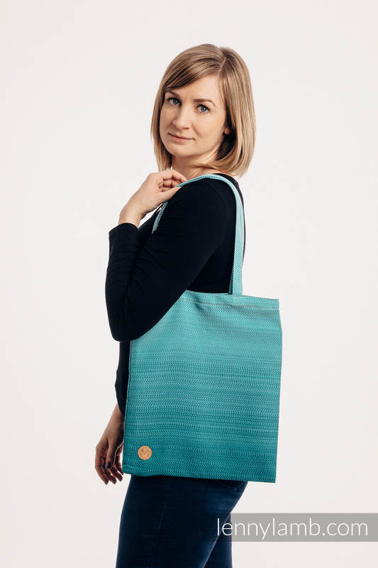 Shopping bag made of wrap fabric (100% cotton) - LITTLE HERRINGBONE OMBRE TEAL  #babywearing