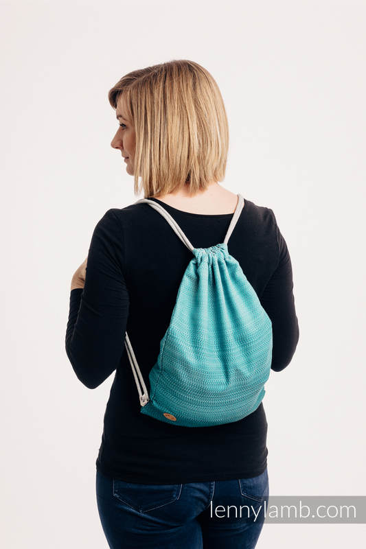 Sackpack made of wrap fabric (100% cotton) - LITTLE HERRINGBONE OMBRE TEAL - standard size 32cmx43cm #babywearing