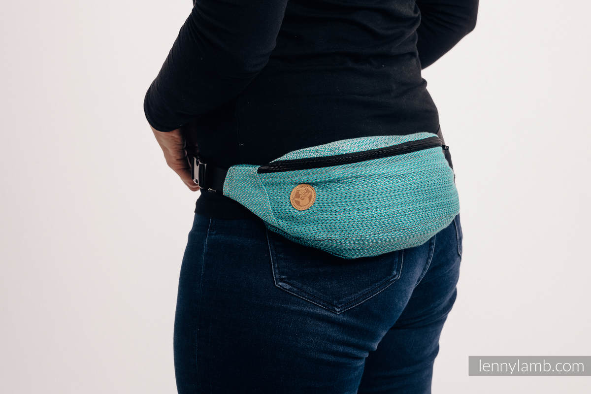 Waist Bag made of woven fabric, (100% cotton) - LITTLE HERRINGBONE OMBRE TEAL  #babywearing