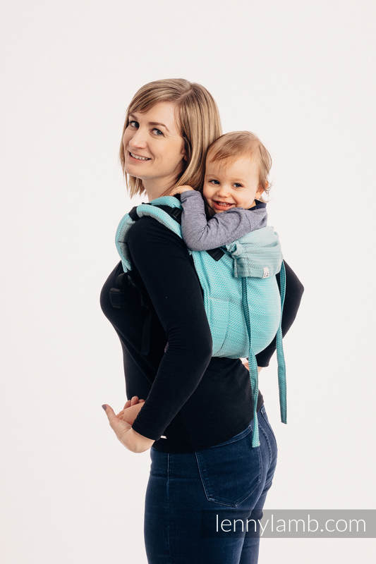 Lenny Buckle Onbuhimo baby carrier, toddler size, herringbone weave (100% cotton) - LITTLE HERRINGBONE OMBRE TEAL #babywearing
