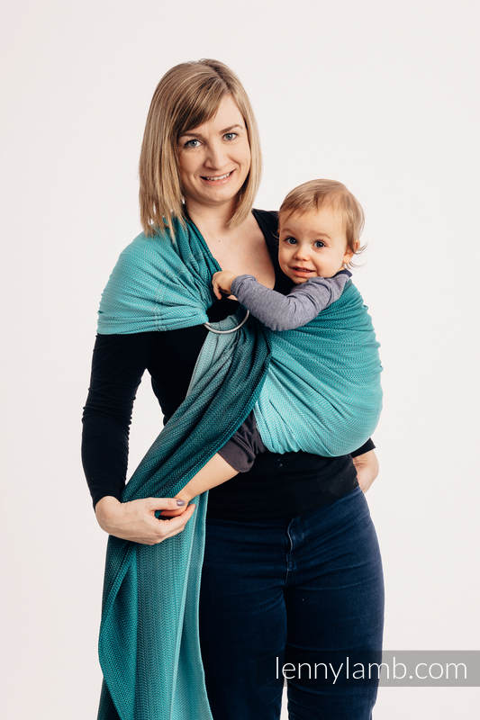Ringsling, Jacquard Weave (100% cotton), with gathered shoulder - LITTLE HERRINGBONE OMBRE TEAL - standard 1.8m #babywearing