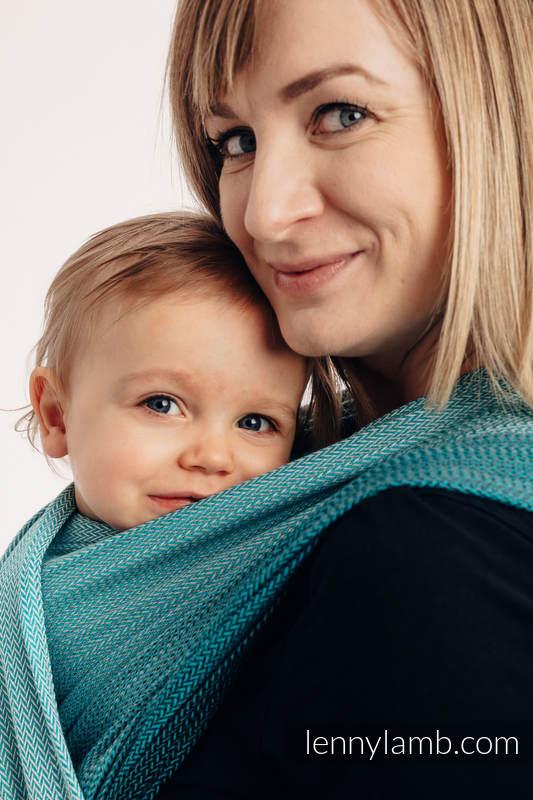 Baby Wrap, Herringbone Weave (100% cotton) - LITTLE HERRINGBONE OMBRE TEAL - size S (grade B) #babywearing