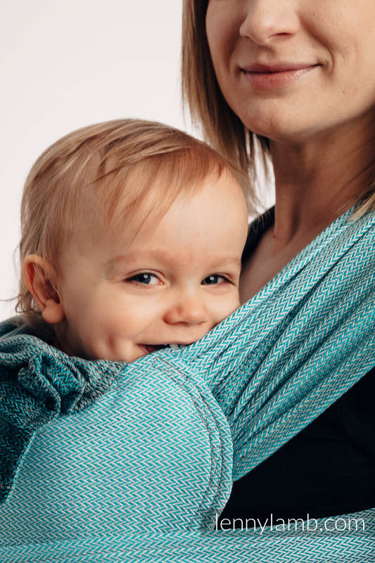 WRAP-TAI carrier Mini with hood/ herringbone twill / 100% cotton / LITTLE HERRINGBONE OMBRE TEAL  #babywearing