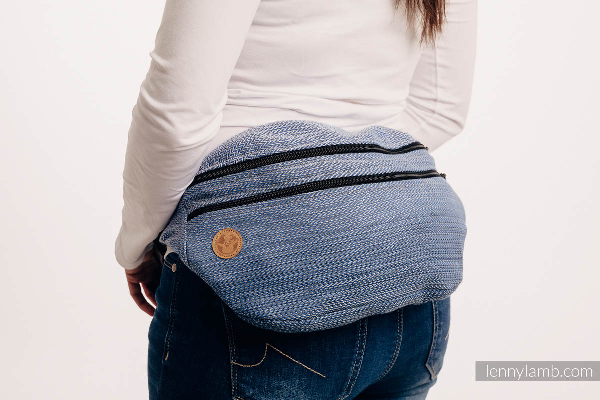 Waist Bag made of woven fabric, size large (100% cotton) - LITTLE HERRINGBONE OMBRE BLUE  #babywearing