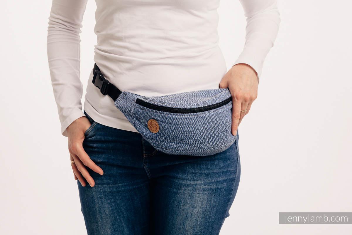 Waist Bag made of woven fabric, (100% cotton) - LITTLE HERRINGBONE OMBRE BLUE  #babywearing