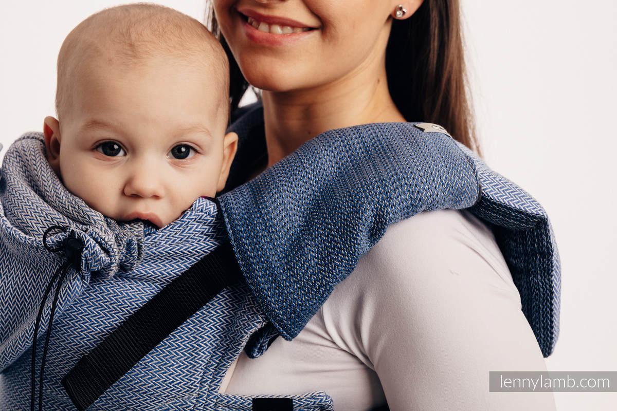 Nosidełko Ergonomiczne , splot jodełkowy, 100% bawełna , Baby Size, MAŁA JODEŁKA OMBRE NIEBIESKI - Druga Generacja #babywearing