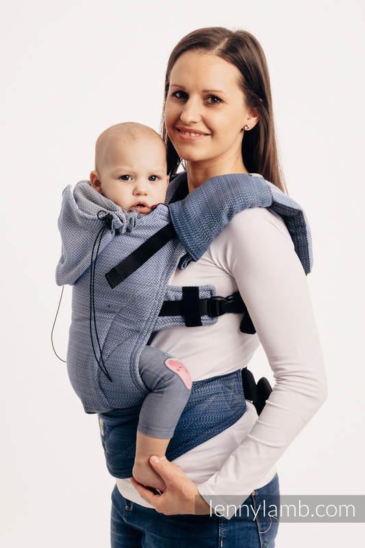 Ergonomische Tragehilfe, Größe Baby, Fischgrätmuster, 100% Baumwolle - LITTLE HERRINGBONE OMBRE BLUE  - Zweite Generation #babywearing