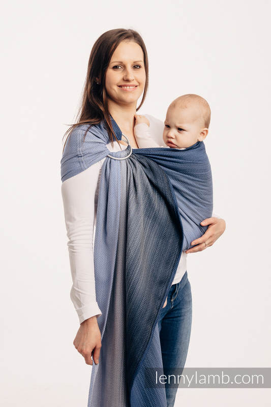 Ringsling, Herringbone Weave (100% cotton) - with gathered shoulder - LITTLE HERRINGBONE OMBRE BLUE  - long 2.1m #babywearing