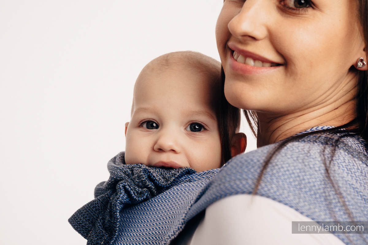 WRAP-TAI carrier Mini with hood/ herringbone twill / 100% cotton / LITTLE HERRINGBONE OMBRE BLUE  #babywearing