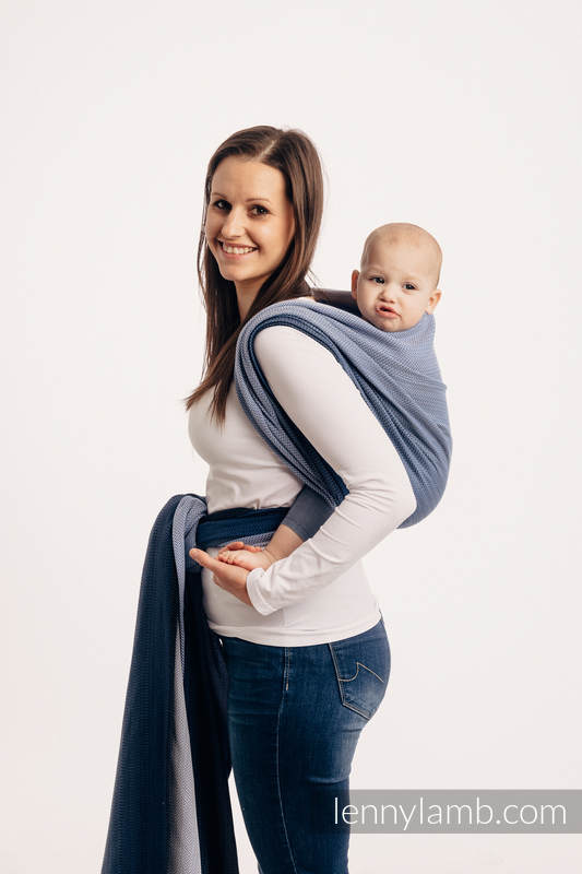 Baby Wrap, Herringbone Weave (100% cotton) - LITTLE HERRINGBONE OMBRE BLUE - size XL #babywearing