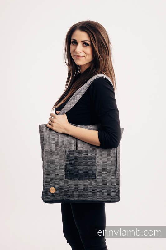 Bolso hecho de tejido de fular (100% algodón) - LITTLE HERRINGBONE OMBRE GREY - talla estándar 37 cm x 37 cm #babywearing